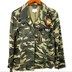 Embellished Camouflage Print Jacket with patches